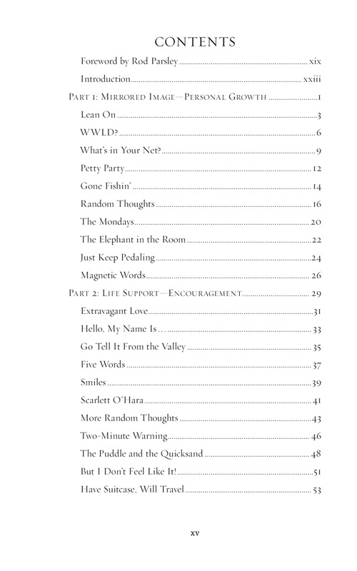 The Table of Contents from Joni Parsley's new book - Tapestry of Faith
